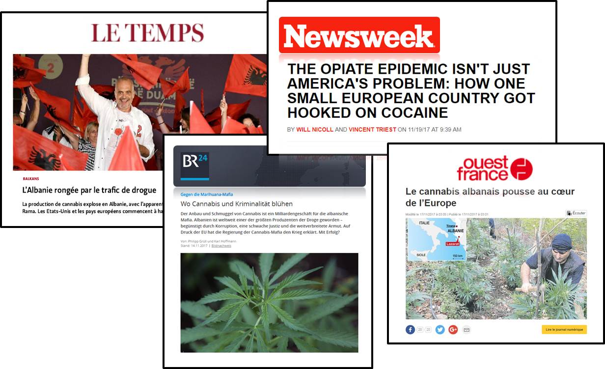 International Media including NewsWeek magazine labeling Albania as the first narco-state in Europe ever