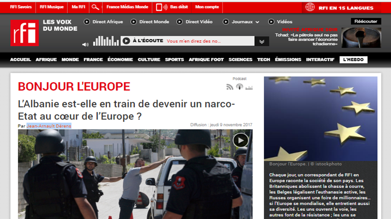 "Radio France International special report : ""Is Albania becoming a narco-state in the heart of Europe?"