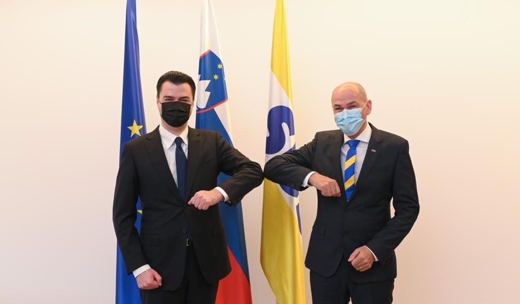 Basha, vizitë në Slloveni, takim me kryeministrin dhe kreun e Presidencës së ardhshme të Bashkimit Europian, Janez Janša